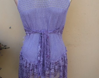 lilac lurex top kissed with shabby rose detail... medium to 44'' bust.