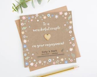 Engagement Card Personalised Pastel Floral Kraft
