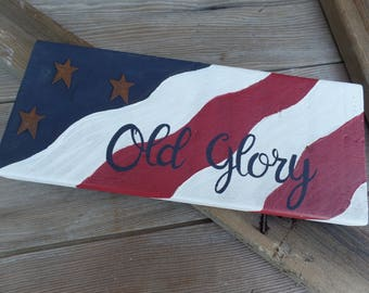 American Flag Decor, Rustic flag, Fourth of July decor, Rustic American flag, primitive flag, Old Glory flag, hand painted American flag, US