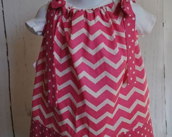 Girls' Pillowcase Dress - Pink Chevron