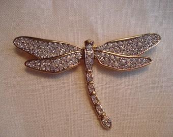 Swarovski Gold and Crystal Large Dragonfly Brooch
