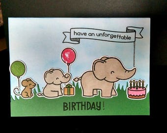 Happy Birthday Card - Elephant Birthday Card - Lawn Fawn Stamps - Hand Stamped Cards - Birthday Card