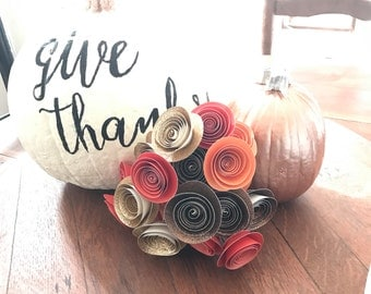 Fall bouquet, fall paper flowers, autumn wedding flowers, thanksgivinn centerpiece
