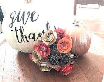 Fall bouquet, fall paper flowers, autumn wedding flowers, thanksgivinn centerpiece