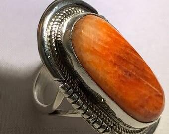 SALE navajo E Spenser Sterling Spiny Oyster Ring Sz 6