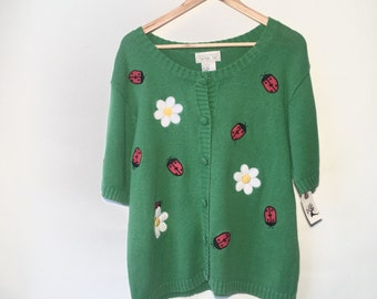 90s lady bug daisey short sleeve cardigan sweater xl