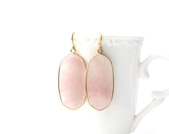 Polished Gold Plated Oval Rose Quartz Earrings