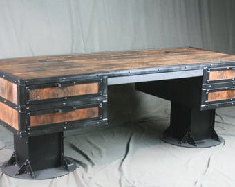 industrial furniture. reclaimed wood & steel.leecowen on etsy