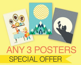 ANY 3 POSTERS : Modern Illustration Movie Retro Art Wall Decor Print