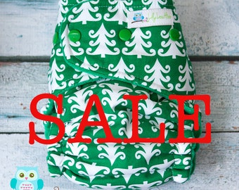 """SALE! Classic Hybrid Fitted Cloth Diaper- """"Trees"""" woven"""