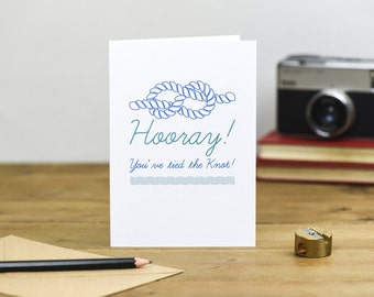 Hooray, you've tied the knot wedding card