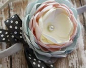 Fresh as a Baby - Aqua, Pale Pink and Ivory Headband