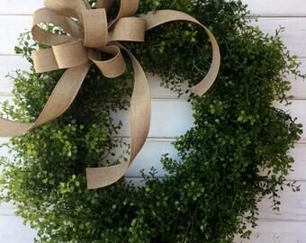 "24"" Farmhouse Greenery Wreath--Front Door Wreath--Indoor Wreath--Spring Wreath--Summer Wreath--Wedding Wreath"