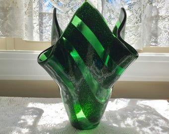Fused Glass Vase, Green Art Glass Sculpture, Kiln Formed Aventurine Green Glass Vase