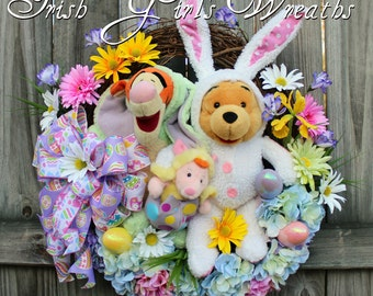 Winnie the Pooh & Tigger Easter Wreath, Piglet, Easter Wreath, Spring Wreath, Disney Wreath, Bunny Wreath, Floral Easter, Hydrangea Wreath,