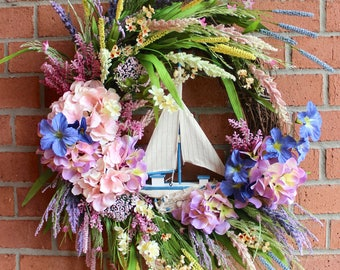 SALE - XL Sailboat Sunset Nautical Wreath, Large Coastal Landscape Wreath, Spring Wreath, Summer Wreath, Beach decor, door wall hanging