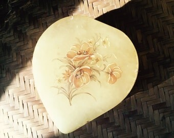Vintage Heart Shape Alabaster Powder Box Italy