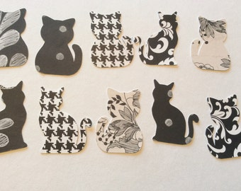 Black and white paper kitty cat cut outs confetti