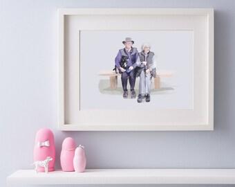 Family portrait - Couple portrait - illustrated portrait
