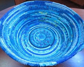 Large Teal & Blue Green Coiled Basket