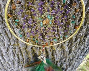 Wild Violet Bohemian Tribal Hippie 5 Inch Dream Catcher in Gold byThe Emerald Lotus