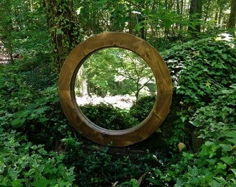 Ready to Ship!! Farmhouse Round Mirror, Round Mirror, Alder Mirror