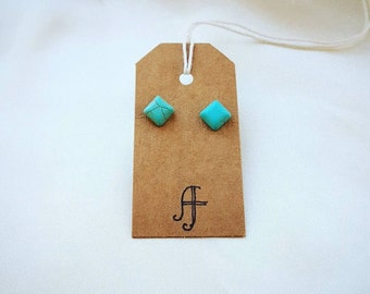 Turquoise Colour Square Boho Small Stud Earrings