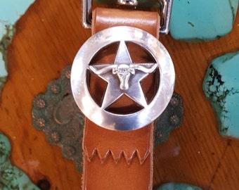 Longhorn Star Belt Loop Key Ring