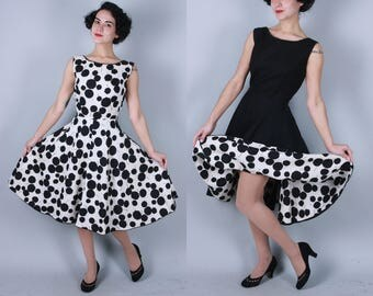1950s Rorschach dress | vintage 50s reversible black & white cotton pique wrap dress with low back | small