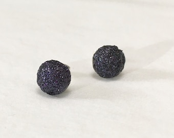 Black Glitter Earrings / Glitter Earrings / Party Jewelry / Sparkly Black Earrings / Black Stud Earrings / Round Black Earrings