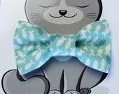 Fish Bow Tie for Cat, Dog Bow Tie, Collar Accessory, Pet Wardrobe, Handmade in Canada, Slip On Collar Accessory, Aqua, Nautical
