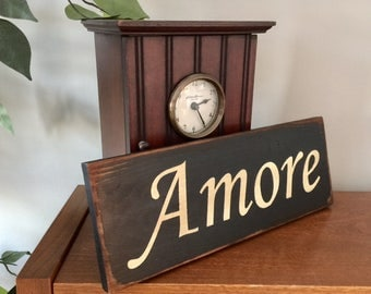 Amore Italian Wooden Primitive Sign
