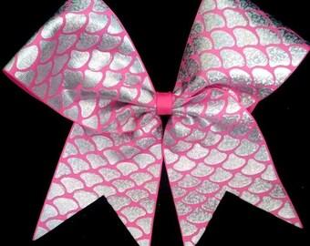 Cheer Bow...Pink and Silver Cheer Bow...Mermaid Cheer Bow...Silver laser Foil Cheer Bow..Silver and Hot Pink Cheer Bow...Hot Pink and Silver