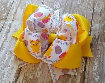 Easter Hair Bow...Yellow Hair Bow....Yellow Easter Bow...Easter Egg Bow..Light Up Hair Bow...Lavender Easter Bow...Hot Pink Easter Bow