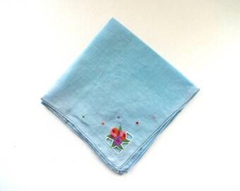 Vintage Blue Linen Handkerchief with Art Deco Flowers