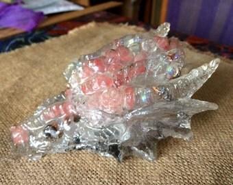 Dragon, Pink Tourmaline, Opalite beads, Lavender Tibetan Crystal, 40 ounces, Love Dragon.