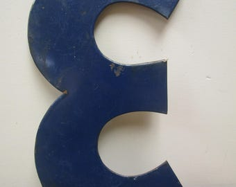 """Vintage 13"""" BLUE Enamel Porcelain Gas Station Sign Letter- E or 3"""