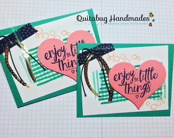 Stampin' Up! Birthday Card/Encouragement Card/Thinking of You Card/Friendship Card- Layering Love- Gold, Pink, & Green