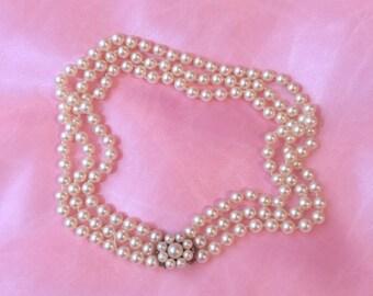 Vintage triple strand faux pearl choker