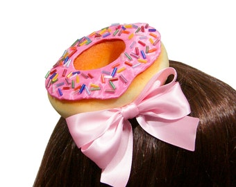 Sweet Frosting and Spinkles Donut Hair Clip - Strawberry, Chocolate, or Vanilla - 8+ Bow Colors Available!