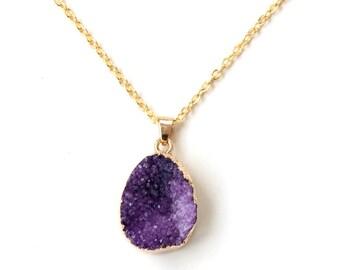 Druzy amethyst necklace, february birthstone, best friend birthday gift, mother gift, gold amethyst, february gift