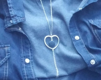 Denim Heart and Chains Necklace