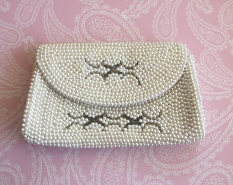 Vintage Bags Clutches, White Purse with Pearls Beads, Evening HandBag, Wedding Bag Clutch, Party Clutch, Vintage Handbag