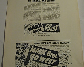 Marx Brothers  Go West    ( 1940 )   Groucho /  Chico / Harpo Marx     MGM   Press Sheet