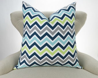 Blue & Green Zigzag Pillow -MANY SIZES- Chevron throw, Lime Green, Navy Blue, Aqua, Gray, Beach Decor, Zoom zoom Canal Pemier Prints