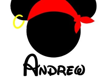 Custom Personalized Mickey Pirate with Bandana Iron on Transfer Decal(iron on transfer, not digital download)
