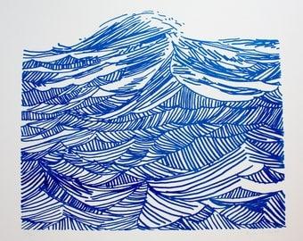 Seascape 3 Blue Screenprint