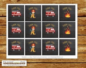 Fireman Favor Tags | Fireman Firefighter Fire Truck Party | Fireman Birthday Party Favor Tags | Fireman Party | Fire Truck Birthday