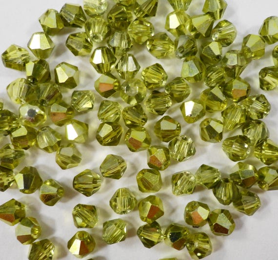 Crystal Bicone Beads, 4mm Crystal Beads, Half Metallic Olivine Olive Green Beads, Small Faceted Chinese Crystal Glass Beads, 100 Loose Beads