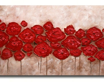 Original  Modern Red  Beige Brown  Flowers  Heavy  Impasto Palette Knife    Painting.
